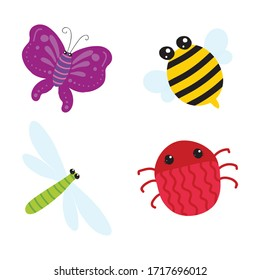 Cute insects. cartoon insects for kids and children. Bug insect colorful isolated  illustration icons set. butterfly, mosquito, bee, spider.