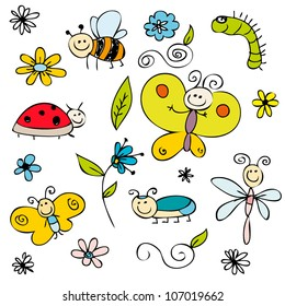 Cute insects and flowers set