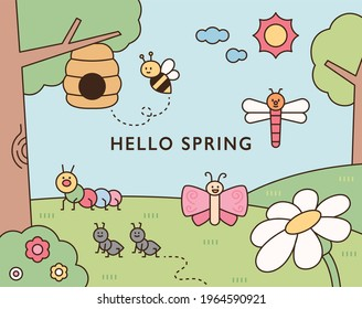 Cute insects live in the natural background with flowers and trees. flat design style minimal vector illustration.