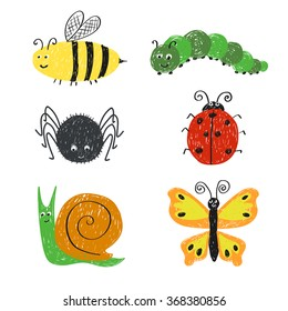 Cute insects set. Cartoon bee, ladybug, snail, spider ans, butterfly isolated on white. Doodle vector illustrations.