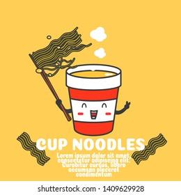 cute instant cup noodles cartoon vector.kawaii food outline concept.