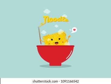 cute instant noodle in bowl .cartoon vector