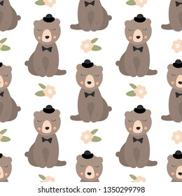Cute intelligent bear  with black hat seamless vector background with floral elements. Sketch for wrapping paper.