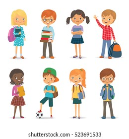 Cute international pupils with books and backpacks. Vector illustration
