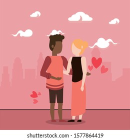 cute interracial lovers couple with hearts vector illustration design