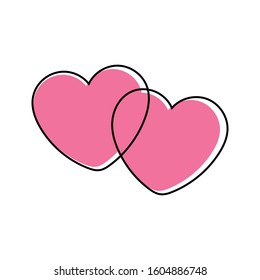 Cute intertwined hearts. Two simple pink outlined hearts