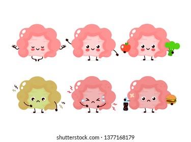 Cute intestine set. Healthy and unhealthy human organ. Vector modern style cartoon character illustration icon design. Healthy food,nutrition,intestine concept