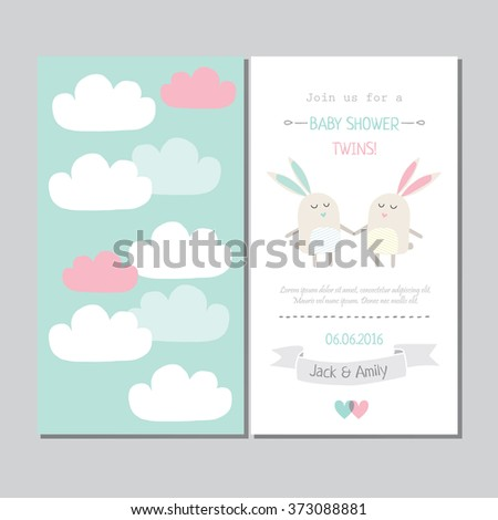 Cute invitation baby shower twins stock vector royalty free cute invitation for baby shower twins filmwisefo