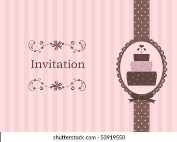 cute invitation with cake