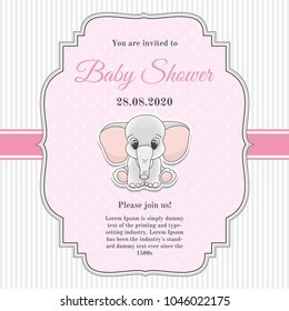 Cute invitation card for baby shower with toy elephant