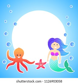 Cute invitation card for children with mermaid and octopus, vector frame.