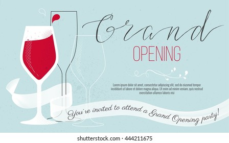 Cute invitation card You are invited to a ribbon-cutting ceremony. Grand opening concept. Vector illustration