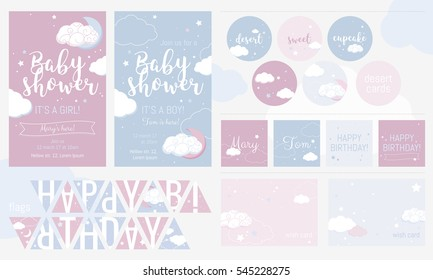 Cute invitation cards for baby shower and birthday party.