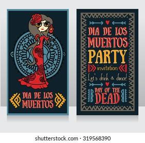 cute invitation cards for dia de los muertos, doodle sugar scull girl, vector illustration