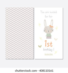 Cute invitation for the first baby birthday, my first birthday, girl