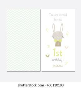 Cute invitation for the first baby birthday, my first birthday, boy