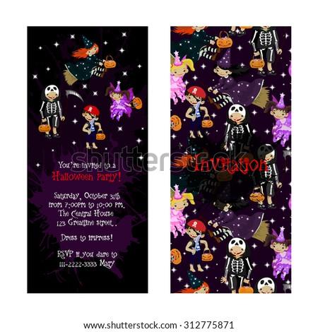 cute invitation kids halloween party illustration stock vector