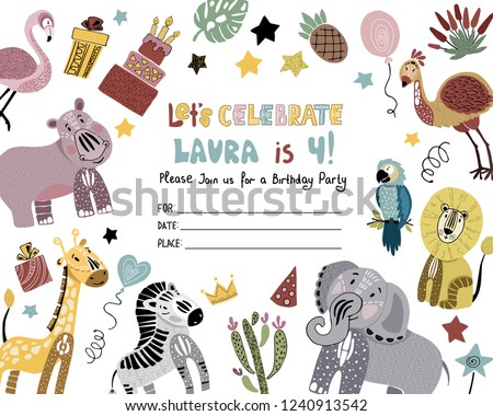 Cute Invitation Template For A Kids Birthday Party With African Animals Cactuses