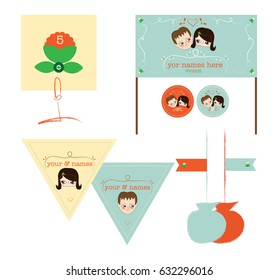 Cute invitation and wedding elements, vector illustration of sweet couple