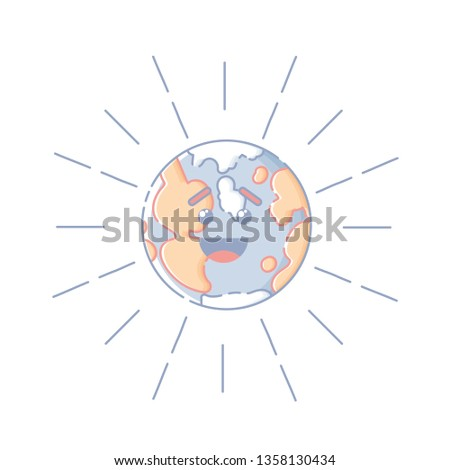 4ab7567b1 Cute isolated laughing Earth globe with rays. Sticker, patch, badge, pin or