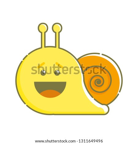 cb688ece6 Cute isolated laughing snail. Sticker, patch, badge, pin or tattoo template.