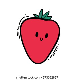 Cute isolated vector doodle hand drawn color illustration of strawberry.