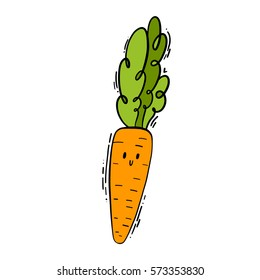 Cute isolated vector doodle hand drawn color illustration of carrot.
