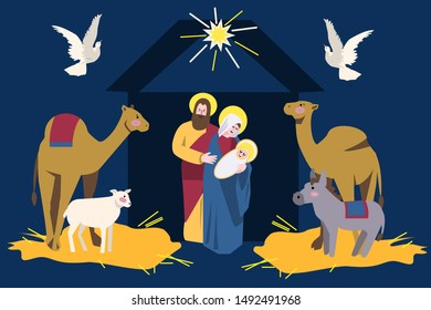 cute isolated vector illustration of holy divine family Virgin Mary and Joseph with Baby Jesus in manger with animals, camels, donkey, sheep. Nativity scene. For greeting cards, Christmas kid design