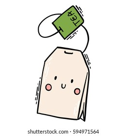 Cute isolated vector illustration of smiling tea bag character.