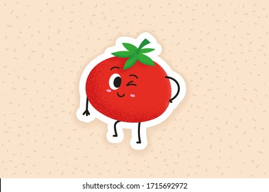 Cute Italian tomato character design. Happy vegetable vector illustration. Cartoon tomato flat design for children books. Can be used in restaurant menu, cooking books and organic farm label