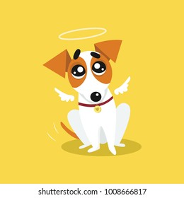 Cute jack russell terrier with angel wings and a halo, funny pet animal character cartoon vector Illustration