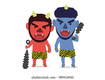 "Cute Japanese demon called ""Oni"" that can be used for Setsubun (festival name in Japan) theme elements, Vector illustration"