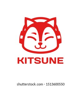 cute japanese style Fox kitsune logo design