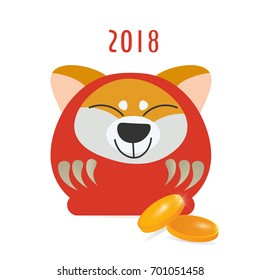 Cute Japanese Traditional Daruma Doll with a kawaii Shiba Inu dog face. Great as vector illustration for New Year of The Dog. Could be also used as Chinese New Year banner.