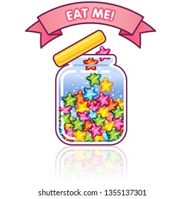 Cute jar icon with jelly star shaped rainbow candies inside and lovely banner