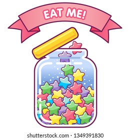 Cute jar icon with star shaped rainbow candies inside and lovely banner