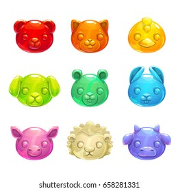 Cute jelly animals faces. Vector colorful gummy candy icons.