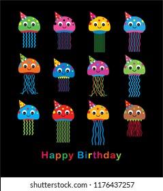 cute jellyfish happy birthday party vector. cute jellyfish wears party hat cartoon illustration.