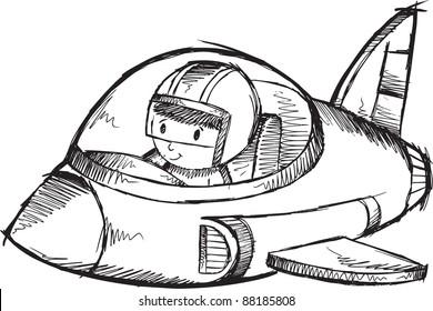 Cute Jet Plane Sketch Doodle Vector Art Illustration