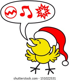 Cute and joyful yellow chicken expressing his best wishes for Christmas represented by red symbols such as a decorated ball, a musical note and a ornamental star inside a speech balloon