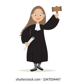 Cute The Judge Cartoon Women Character with Hold the hammer for Judge and Justice,vector,illustration.