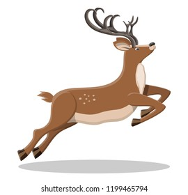 Cute jumping deer with antlers. Happy new year decoration. Merry christmas holiday. New year and xmas celebration. Vector illustration in flat style