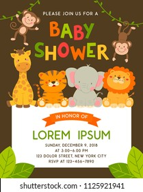 Cute jungle animals cartoon illustration for baby shower invitation card template