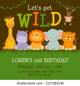 Cute jungle animals cartoon illustration for birthday invitation card template