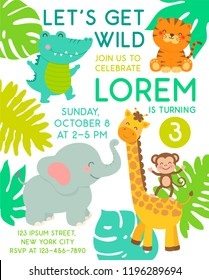 Cute jungle animals cartoon illustration for party invitation card template