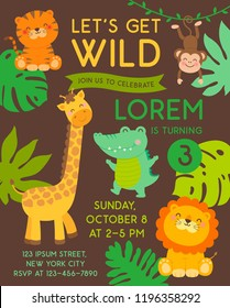 Cute jungle animals cartoon illustration for kids party invitation card template.