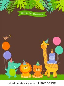 Cute jungle animals cartoon illustration with copy space for kids party invitation card template.