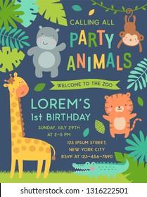 Cute jungle animals cartoon illustration for party invitation card template