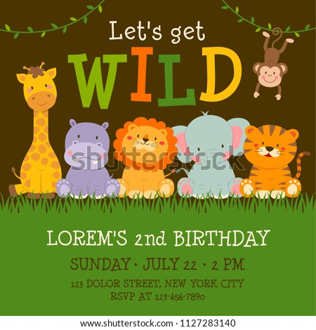 Cute Jungle Animals Cartoon Illustration For Birthday Invitation Card Template