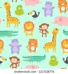Cute jungle animals seamless pattern background